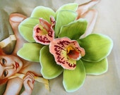 Pin up double green and pink cymbidium orchid hair flower rockabilly vintage style wedding 40s 50s bride hairflower fascinator