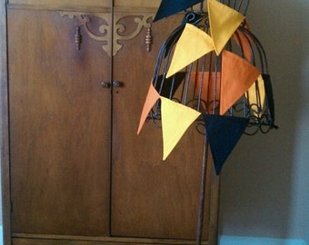 Fabric Bunting Black Orange and Yellow, Candy Corn, Autumn, Fall, Fabric, Banner, Bunting, Garland,  It's a Party By InYourBones