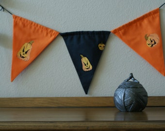 Sinister Halloween Pumpkins,Fall, Fabric, Banner, Bunting, Garland, By InYourBones