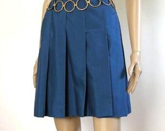 Vintage 1970s Mini Skirt Navy Cadet Blue Pleated Front Skirt / XS, S