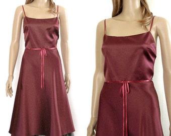 1990s Party Dress / Maroon Satin Black Tulle / Spaghetti Straps / Size 4