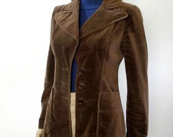 Vintage  1960s Jacket Chocolate Brown Velveteen Curvy Blazer / XS S