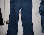 Vintage 1970's Bellbottom Jeans Hip Hugger Denim Blue Wide Flare 29X32