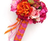 Pink and Orange Bridal Bouquet - Free Boutonniere