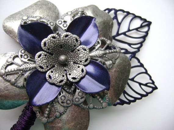 All metal boutonniere - Filigree and enamel - Choose Any Color