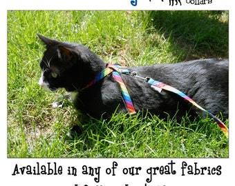 The Figure 8 Cat Harness  by Neck Candy Collars, choose your fabric.