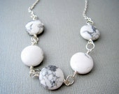White Howlite Necklace,  Howlite Stone Necklace, White and Grey Necklace, Natural Stone Necklace