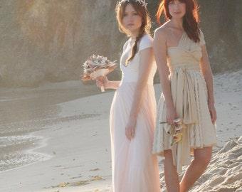Avalon Peach Chiffon Octopus Convertible Infinity Wrap Wedding Gown- NO Train- Tulle, Wedding, Bohemian, Beach