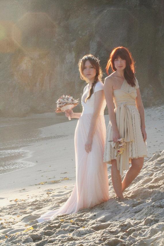 Avalon Peach Tulle / Chiffon-Convertible  Wrap Wedding Gown- Octopus Infinity -NO Train- Tulle, Wedding, Bohemian, Beach