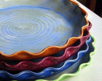 Handmade, Pie plates, stoneware, pottery, ceramic,stoneware clay, colorful (some colors ready to ship)