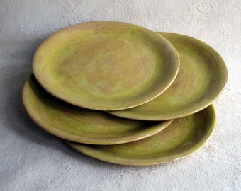 Handmade pottery, ceramic, stoneware clay, Organic shaped plates, Mustard yellow slab dinner plates, set of four, by Leslie Freeman