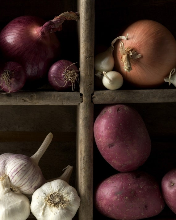 Rustic Vegetables Still Life  An affordable wall art  Classic veggies- Potatoes, Garlic and Onion Kitchen Art Home Rustic Decor