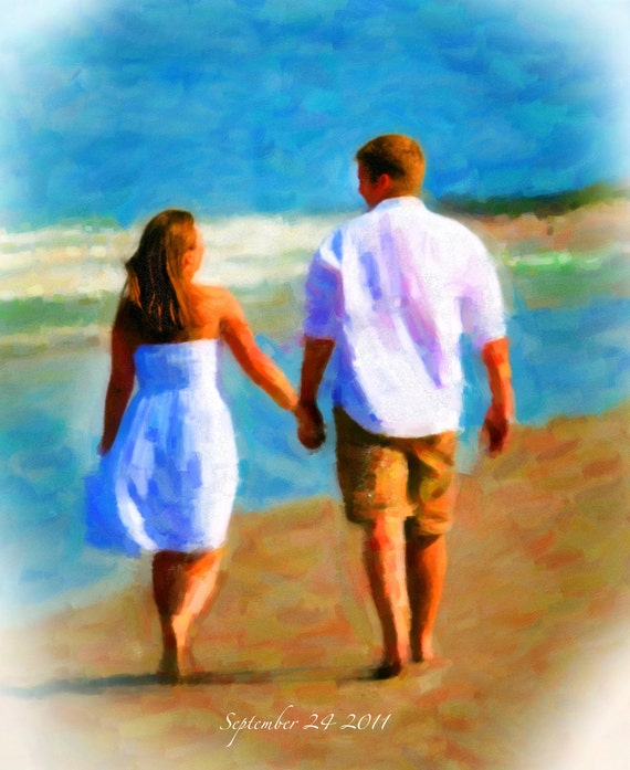 Custom Canvas Oil Style Painting Wedding Decoration or Wedding Anniversary Gift 16x20