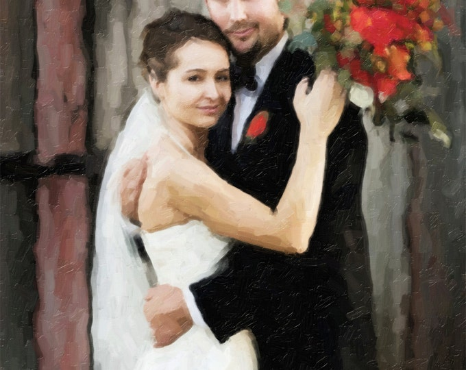 Custom Canvas for Wedding Anniversary Oil Style Painting on Canvas 16x20