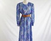 Vintage 80s Day Dress -- 80s Dress -- Purple and Blue Floral Dress -- Large XL