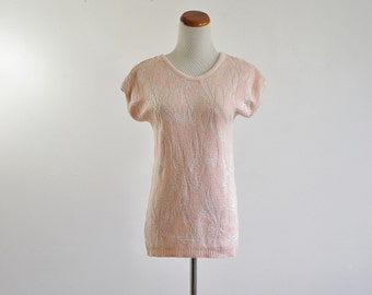 Vintage Sweater Blouse, Pink & Metallic Silver Sweater, Bow Blouse, Short Sleeve Sweater Blouse, Bust 36 Small