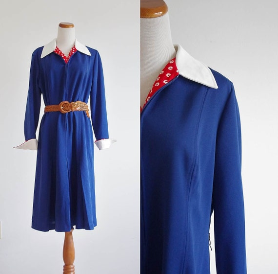 Vintage Knit Dress -- 70s  Navy Blue, Red & White Preppy -- Large XL