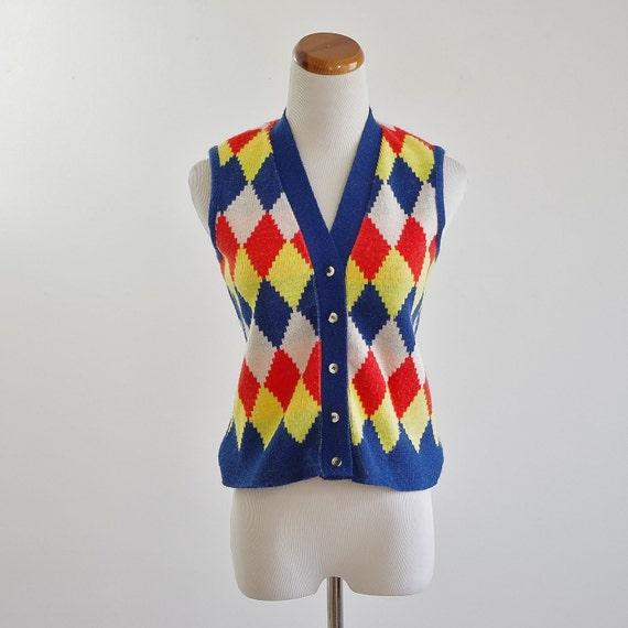 Vintage Argyle Vest, Knit Vest, Mod Vest, Orange Yellow & Blue Button Up, I Magnin Vest, Preppy Primary Colors, Diamonds, XS Small Bust 34