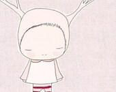 Nursery Print - Baby Art -  Deer Girl - Pink and Red Stripes Art Print
