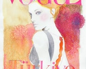 Print of Vogue Cover Watercolor Painting and Fashion Illustration. - silverridgestudio
