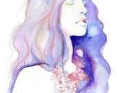 Archival Prints of Watercolor Painting, Fashion Illustration. Titled  - Natalia Blue Meditation
