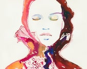 Watercolour Fashion Illustration Print - Heartink 2
