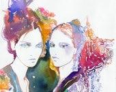 Fashion illustration in watercolor. Archival Prints of Watercolour Fashion Illustration. Titled: Modelink7
