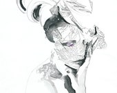 Archival Prints of Ink Watercolour Fashion Portrait, Print Illustration.  Daphne Guinness