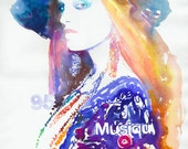 Fashion Illustration, Watercolor Fashion Illustration, Watercolour Painting - Titled: Musique