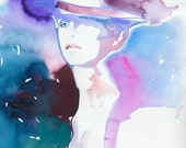Print of Watercolor Fashion Illustration, Fashion art watercolor. Titled: Model Ink Lilac