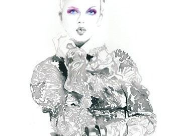 Fashion Illustration Love Magazine, Fashion Print, Love Fashion Art, Love Poster, Kiss Poster,  Watercolour Fashion Illustration Print