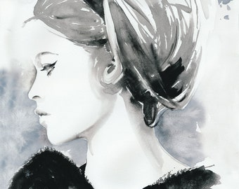 Fashion Illustration, Watercolor Fashion Illustration, Cate Parr, Fashion Poster, Fashion Wall Art, Bridget Bardot, Black and white fashion