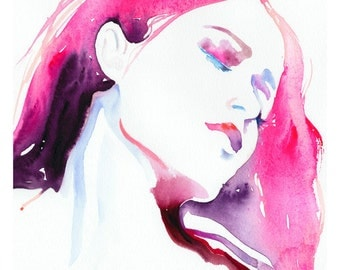 Fashion Illustration, Watercolor Fashion, Fashion Wall Art, Watercolor Illustration, Watercolor of Girl, Fashion Art Print, Rose