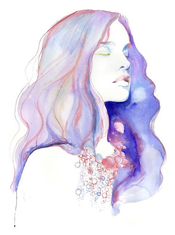 Fashion Illustration, Watercolor,  Watercolor Painting, Fashion Poster, Fashion Gift, Meditation Art, Yoga Art