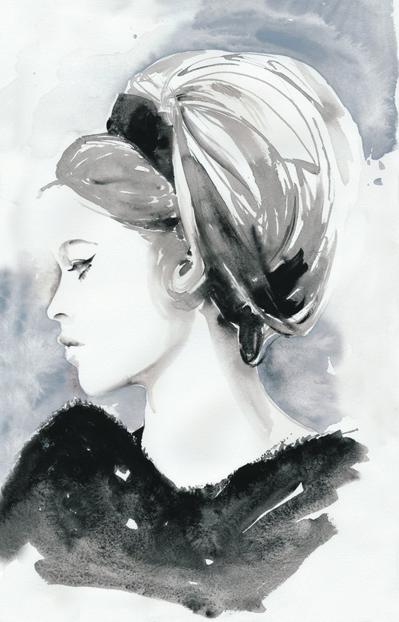 Fashion Illustration, Watercolor Fashion Illustration, Cate Parr, Fashion Poster, Fashion Wall Art, Bridget Bardot, Black and white fashion