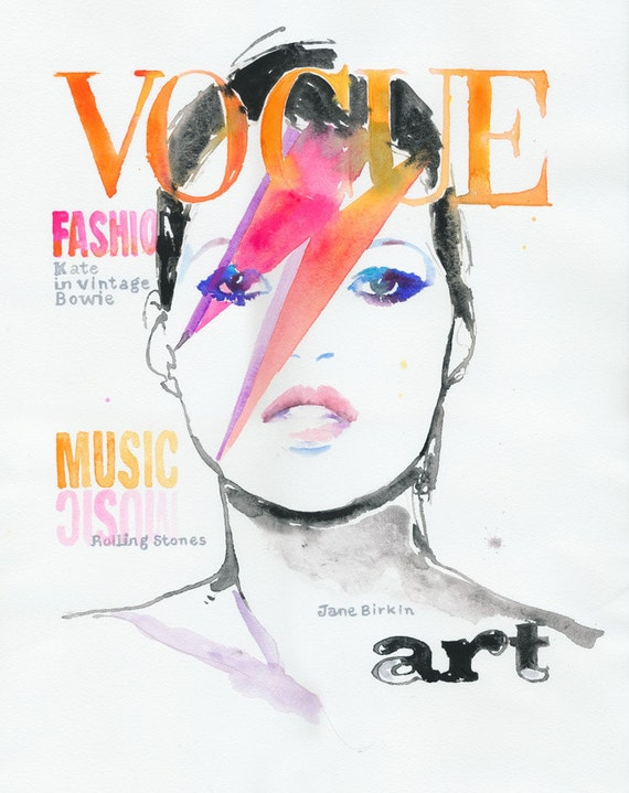 Fashion Illustration Print, Watercolor Illustration - Vintage Kate Moss on the cover of Vogue