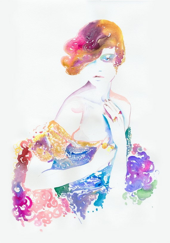 Original Painting, Original watercolor, Fashion Illustration, Twenties fashion, Fashion Wall Art, Fashion Art,