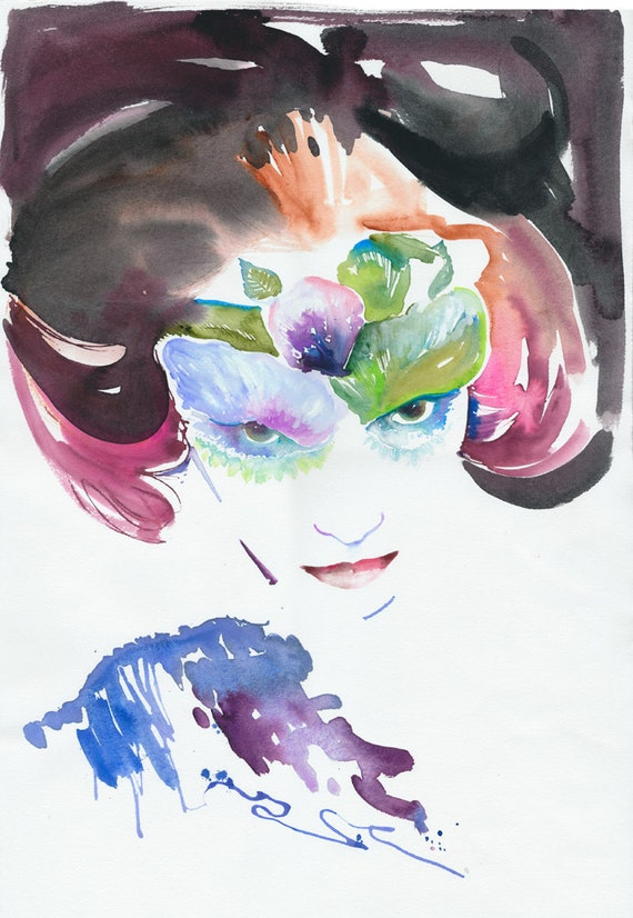 Reseved Listing Only. Original Watercolour Fashion illustration. Title: Wink. Costume Ball