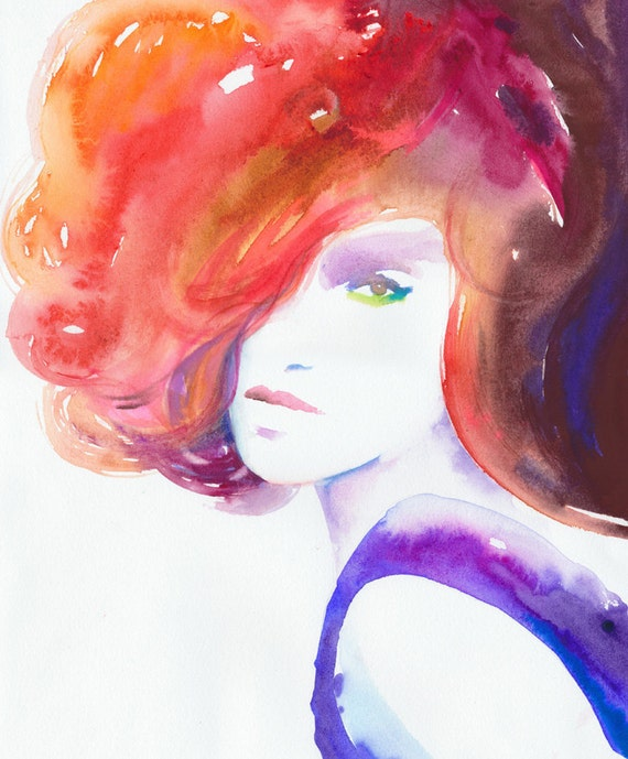 Watercolor Painting, Original Watercolor Fashion Illustration - titled: 60s ink