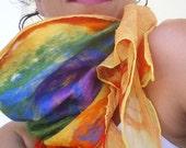 nuno felted scarf -She's like a Rainbow-