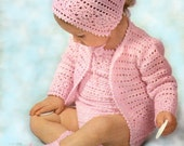 Instant download crochet pattern - Baby rompers, sweater, bonnet and booties - pdf crochet pattern