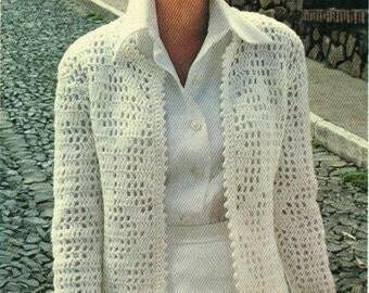 Instant download crochet pattern - women's jacket - filet crochet