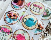 Tea Party Stickers Bakery Labels Teapots and Donuts Stickers Handmade Birthday Party Sweet Treat Stickers