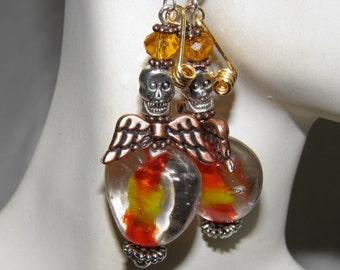 Day of the Dead Earrings, Skull Jewelry, Orange Lampwork Angel Earrings, Rockabilly Jewelry, Day of the Dead Jewelry Halloween Earrings Goth