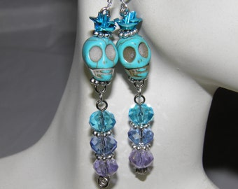 Day of the Dead Earrings Blue Turquoise Sugar Skull Jewelry Crystals Frida Kahlo Jewelry Goth Day of the Dead Jewelry Halloween Earrings