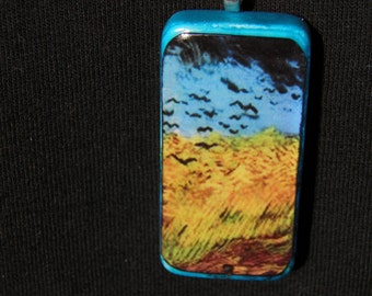 Vincent Van Gogh Necklace Wheat Field with Crows Last Painting Art Van Gogh Jewelry Goth Jewelry OOAK