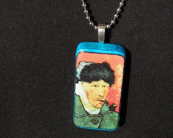 Vincent Van Gogh Necklace Self Portrait Painting with Bandaged Ear Van Gogh Jewelry Handcrafted