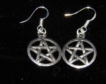 Pentagram Earrings Sterling Silver and Pewter Pentacle Earrings Goth Jewelry Wiccan Pagan Jewelry Halloween Earrings