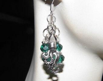 Game of Thrones Squid Earrings, Squid Jewelry, Sterling Silver, Kraken Earrings, Octopus Jewelry, Steampunk Jewelry, Game of Thrones Jewelry