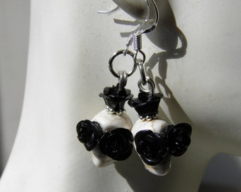 Day of the Dead Earrings Sterling Silver, White Turquoise Sugar Skull Jewelry, Black Roses, Dia de los Muertos Day of the Dead Jewelry, Goth